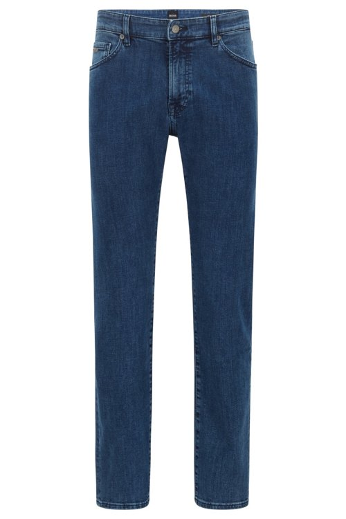 Hugo Boss - Regular-fit jeans in washed super-stretch denim - 1