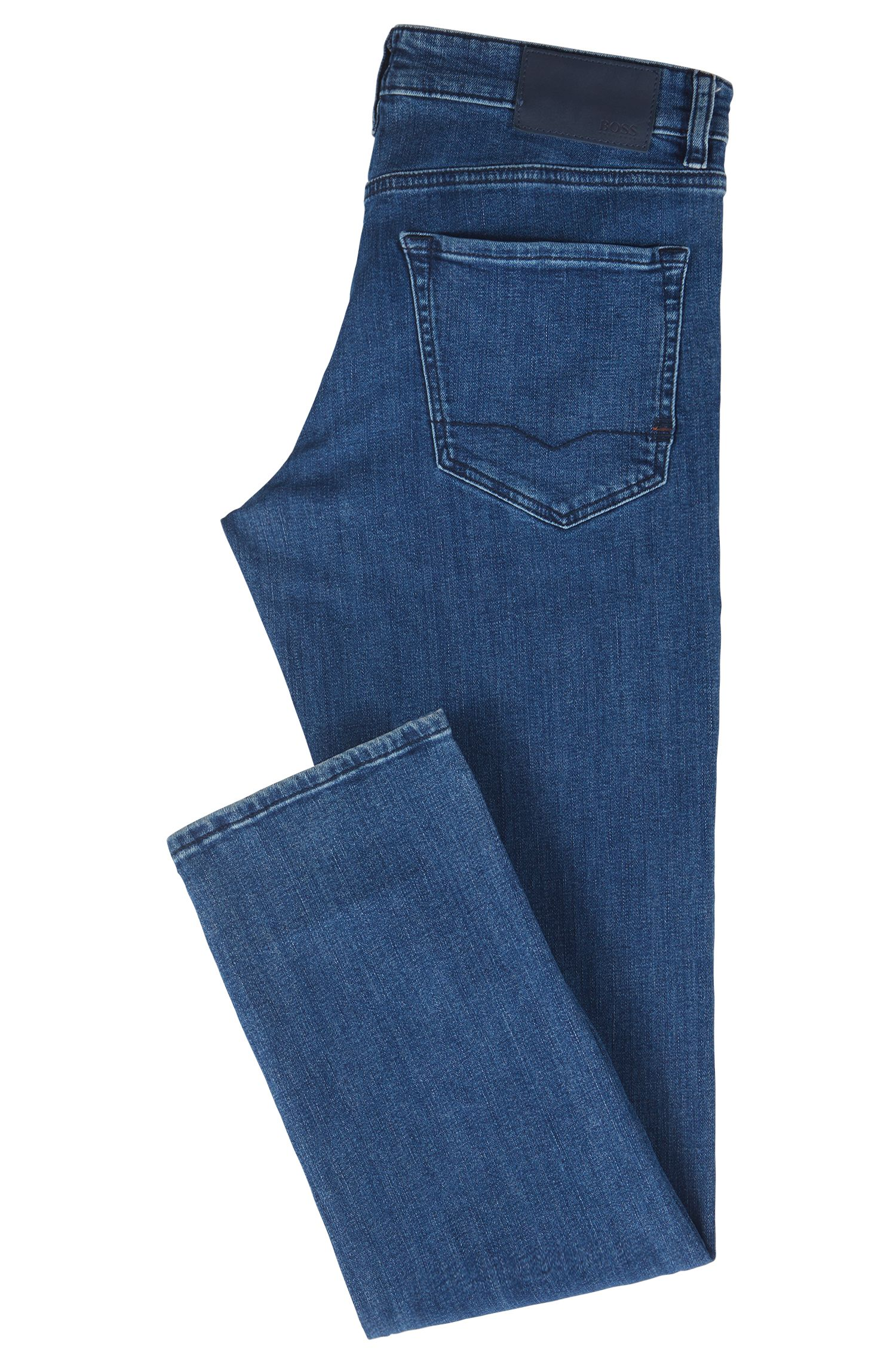 Regular-Fit Jeans aus gewaschenem Super-Stretch-Denim, Blau