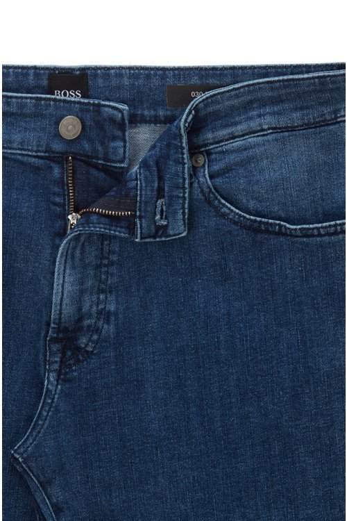 Hugo Boss - Regular-fit jeans in washed super-stretch denim - 5