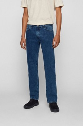 Regular-fit jeans in mid-blue distressed stretch denim, Blue