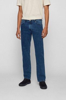 Jeans regular fit in denim elasticizzato blu medio con effetto vintage, Blu