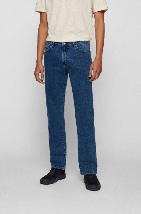 Regular-fit jeans in mid-blue distressed stretch denim, Blue