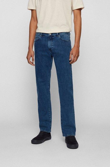 Regular-fit jeans in washed super-stretch denim, Blue