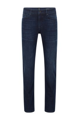 Slim-fit jeans in dark-blue super-stretch denim, Dark Blue