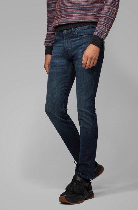 Jeans slim fit in denim super elasticizzato blu scuro, Blu scuro