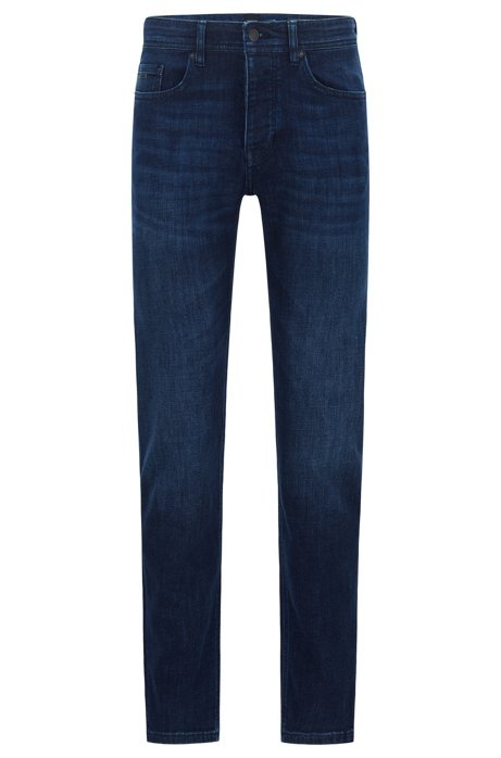 Tapered-fit jeans in dark-blue super-stretch denim, Dark Blue