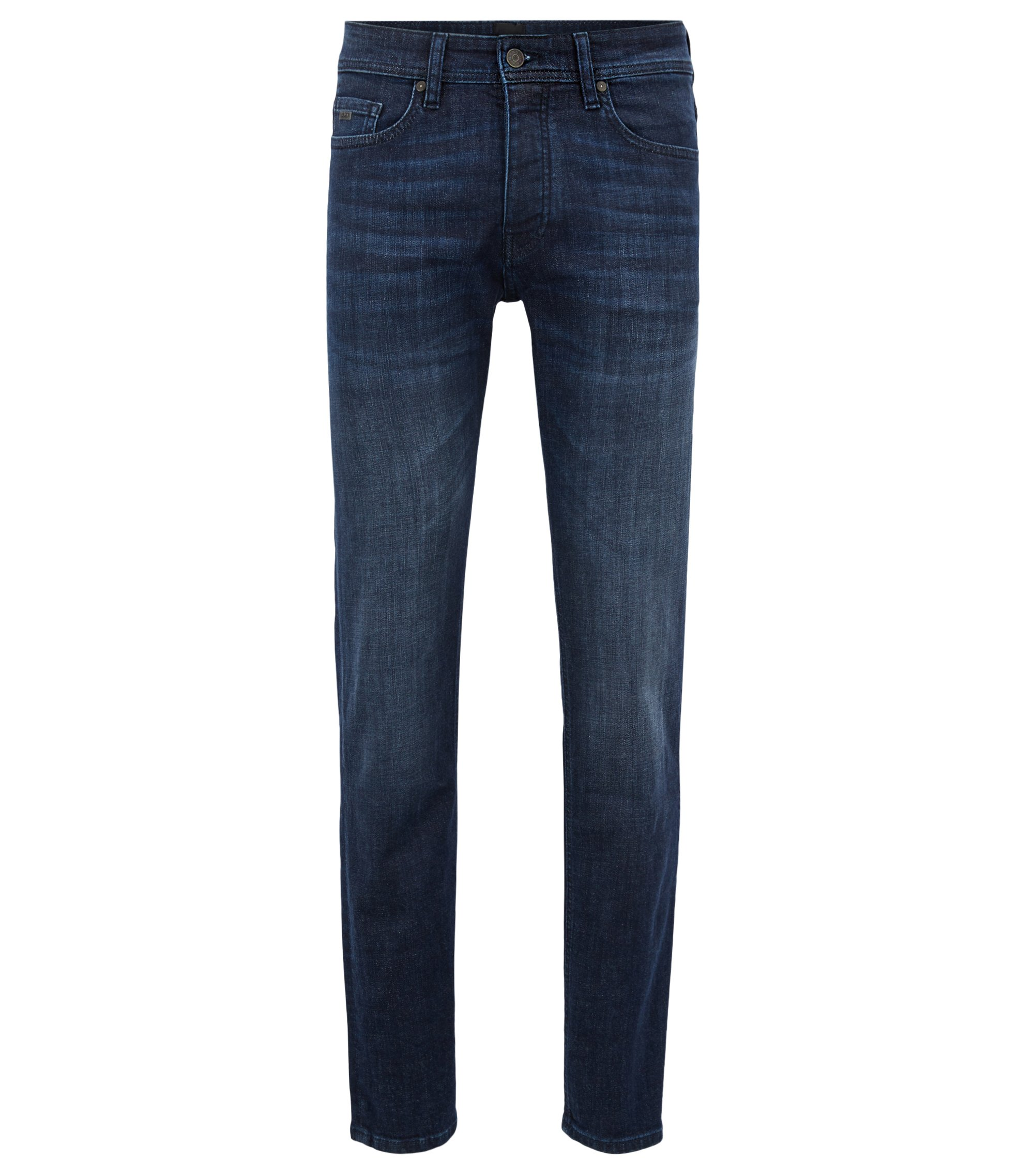 Tapered-fit jeans in dark-blue used stretch denim, Dark Blue
