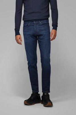 Jeans con fit affusolato in denim blu scuro super elasticizzato, Blu scuro