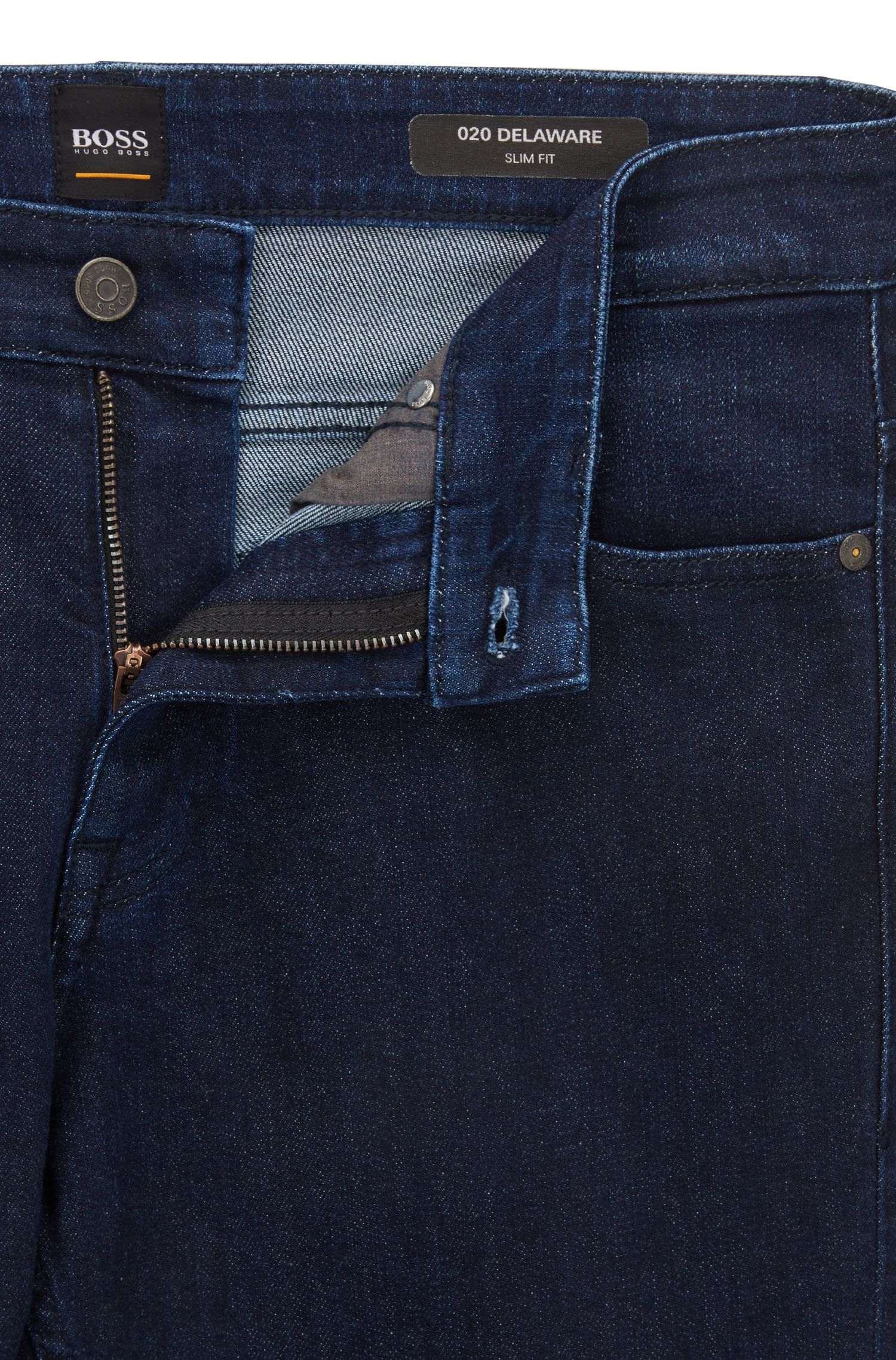 Slim-fit jeans in washed indigo stretch denim, Bleu foncé