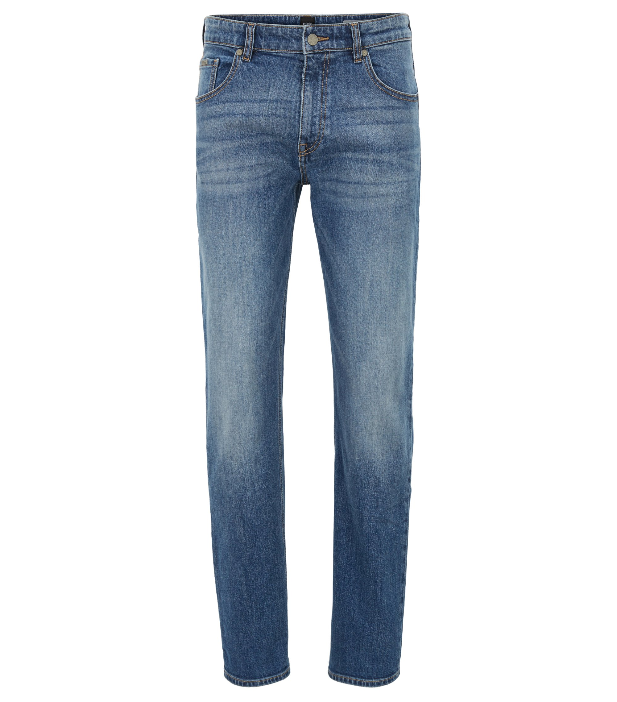 Relaxed-fit jeans van felblauw, distressed stretchdenim, Blauw