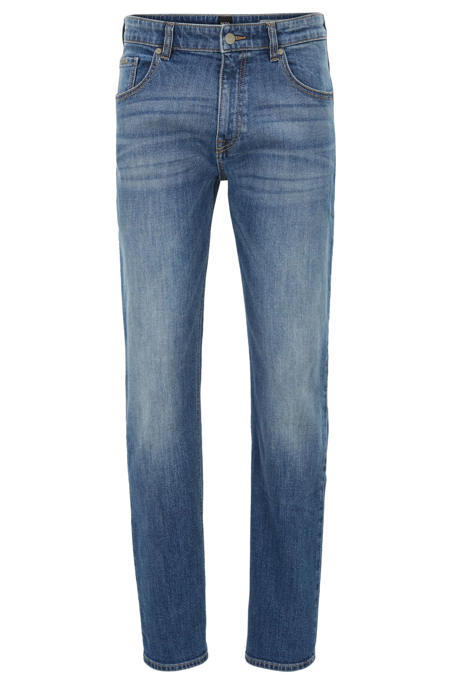 Relaxed-fit jeans in distressed bright-blue stretch denim, Blue