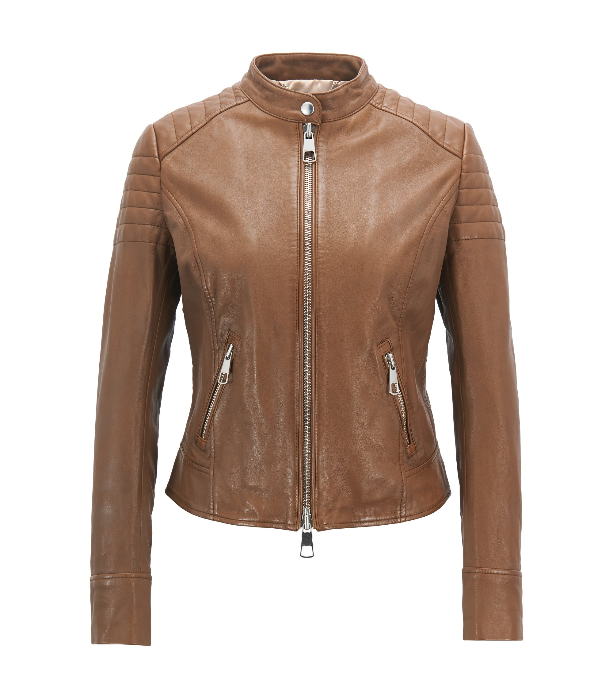 Giubbotto biker regular fit in pelle nappa d'agnello, Marrone