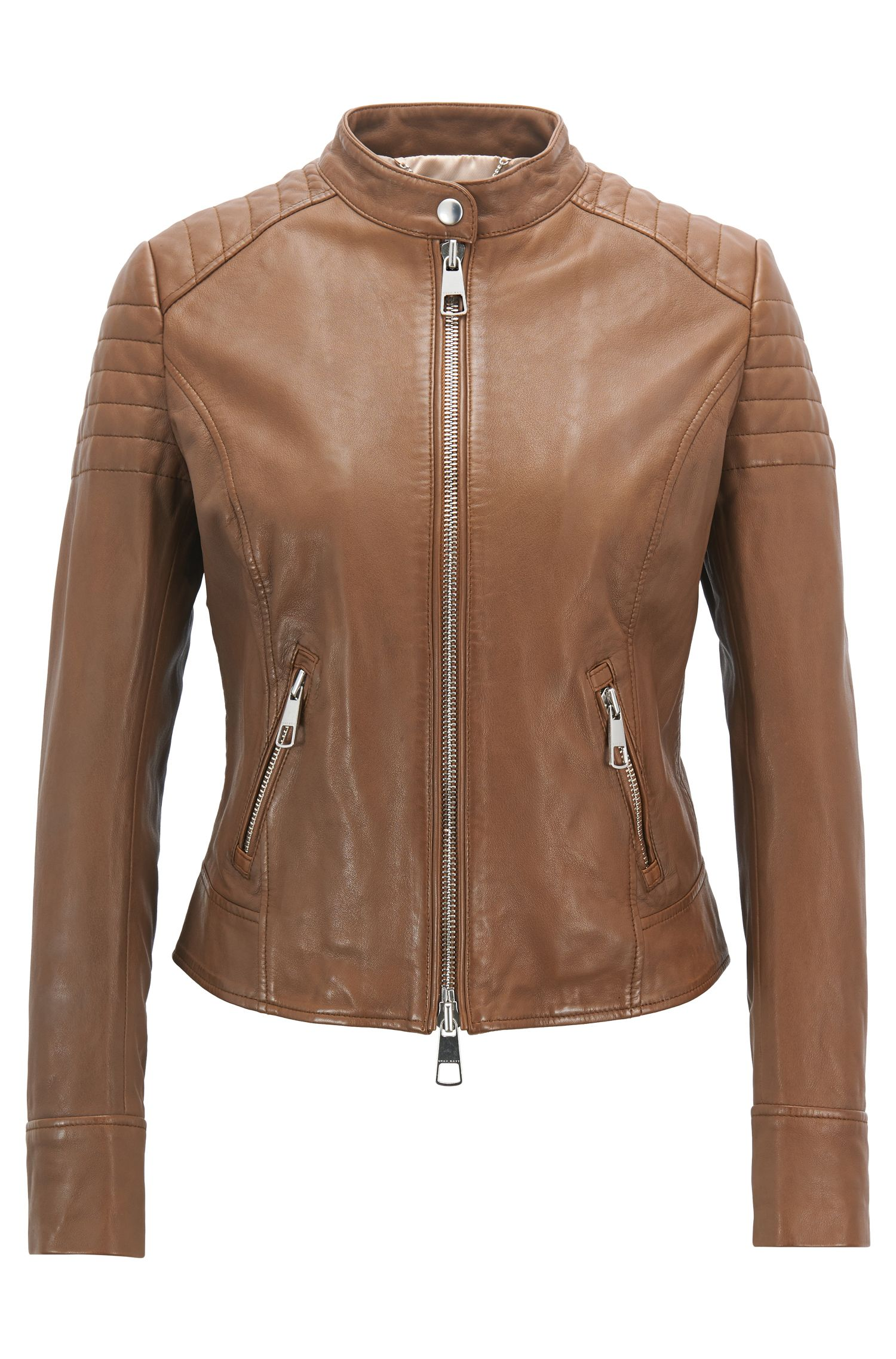 Regular-fit biker jacket in nappa lambskin