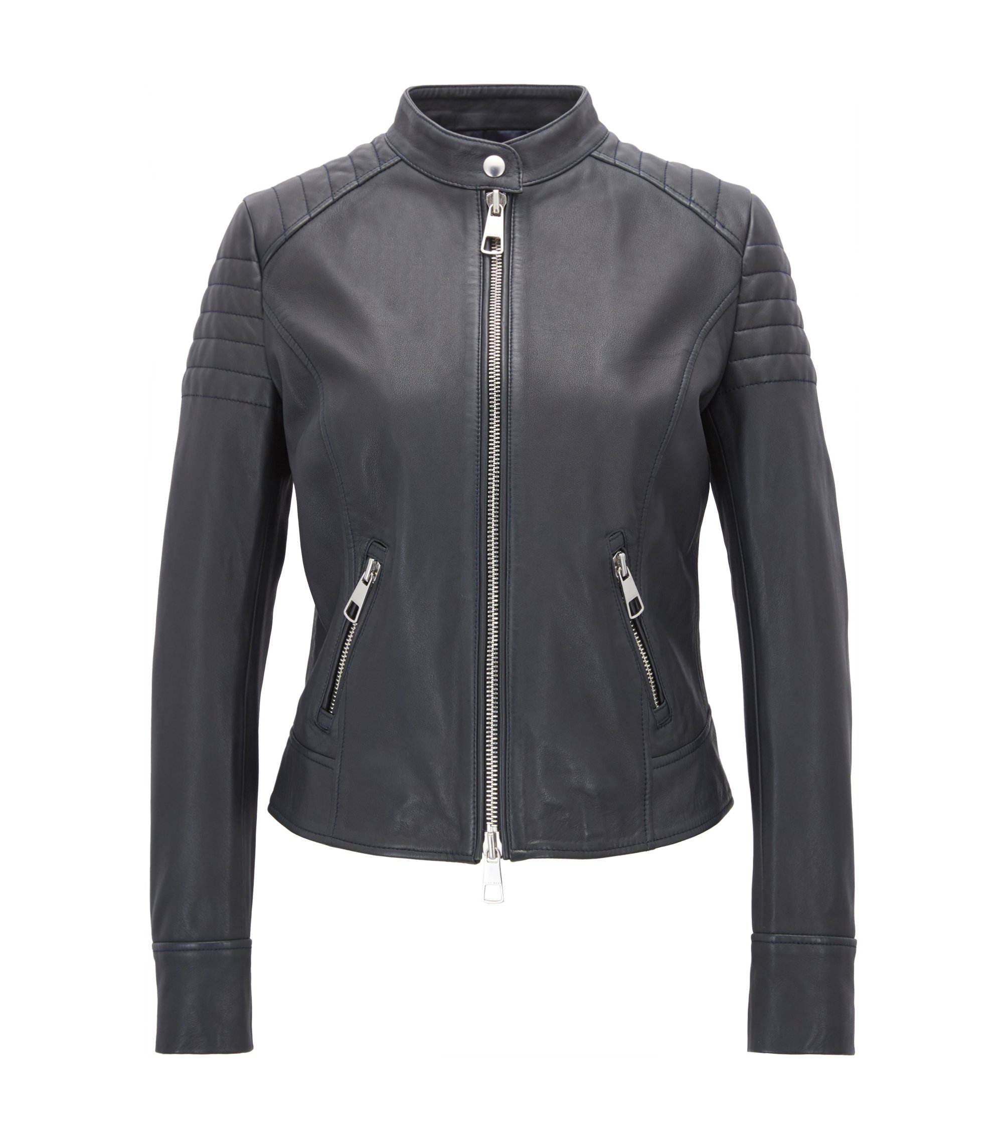Regular-fit biker jacket in nappa lambskin, Dark Blue