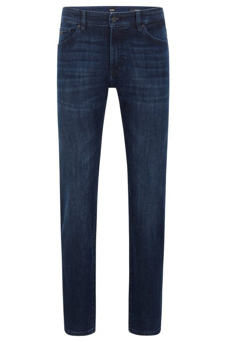 Regular-fit jeans van donkerblauw stretchdenim met used-effect, Donkerblauw