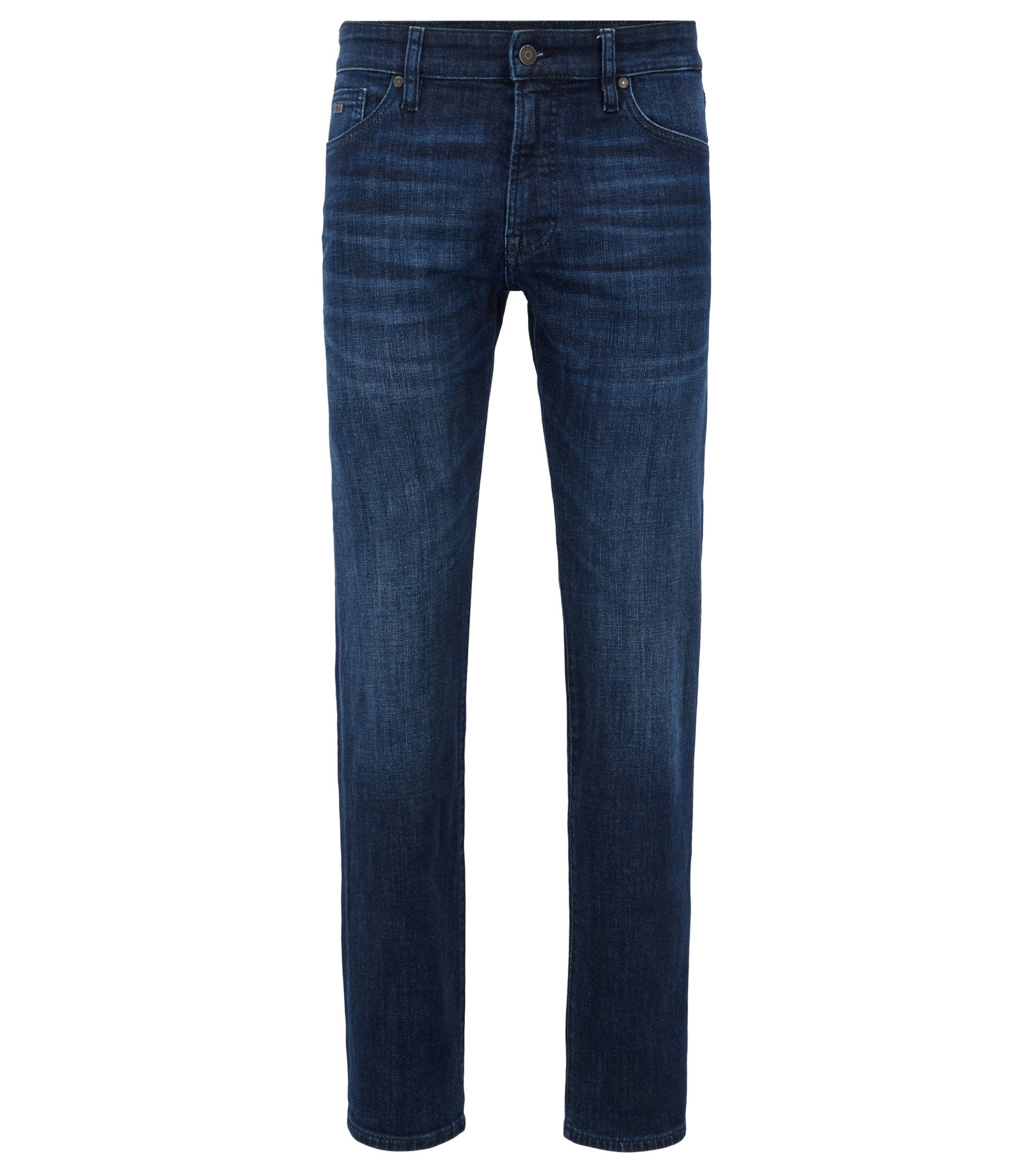 Regular-fit jeans in super-stretch used-effect denim, Dark Blue