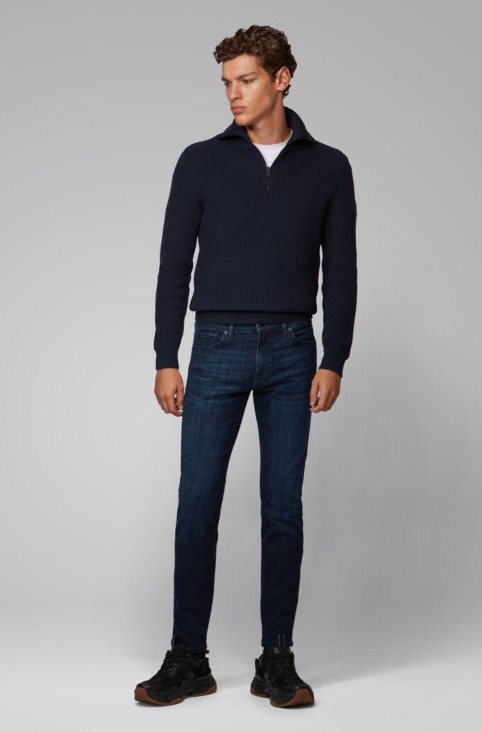 Regular-fit jeans van donkerblauw stretchdenim met used-effect