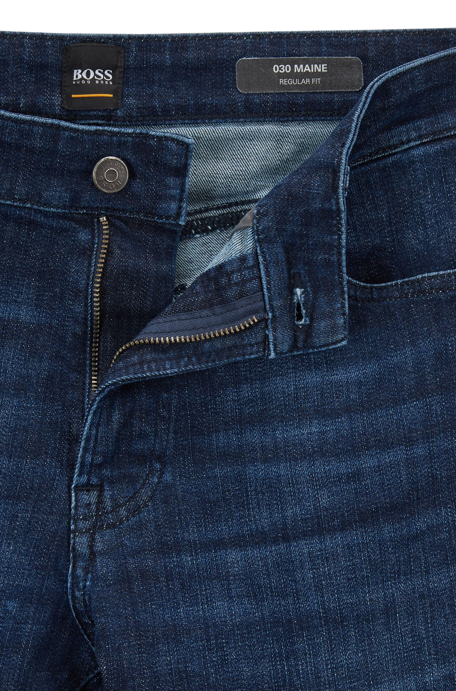 Regular-fit jeans in super-stretch used-effect denim