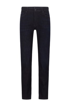 Regular-fit jeans in dark-blue super-stretch denim, Dark Blue
