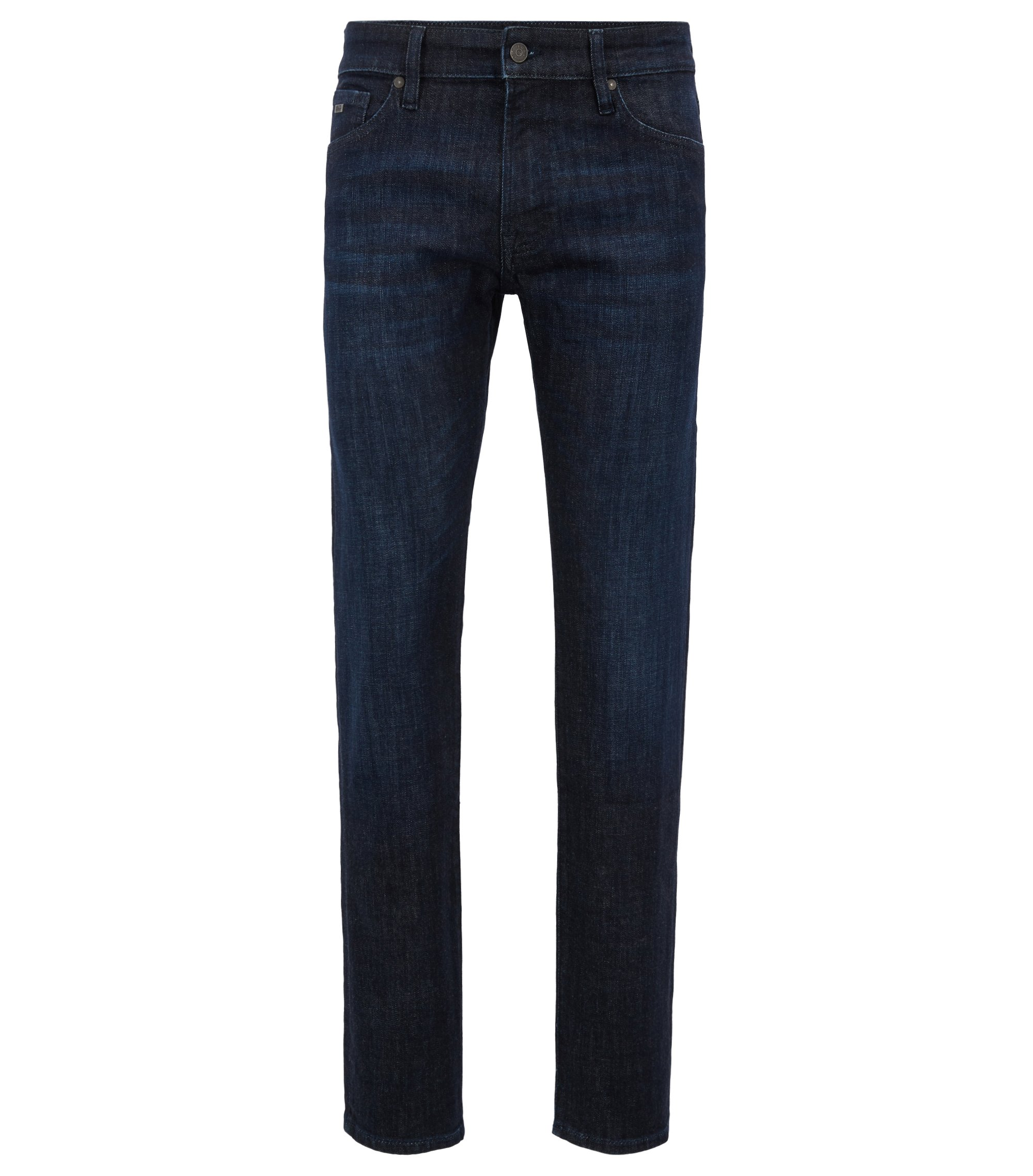 Jeans regular fit in denim elasticizzato con cimosa, Blu scuro