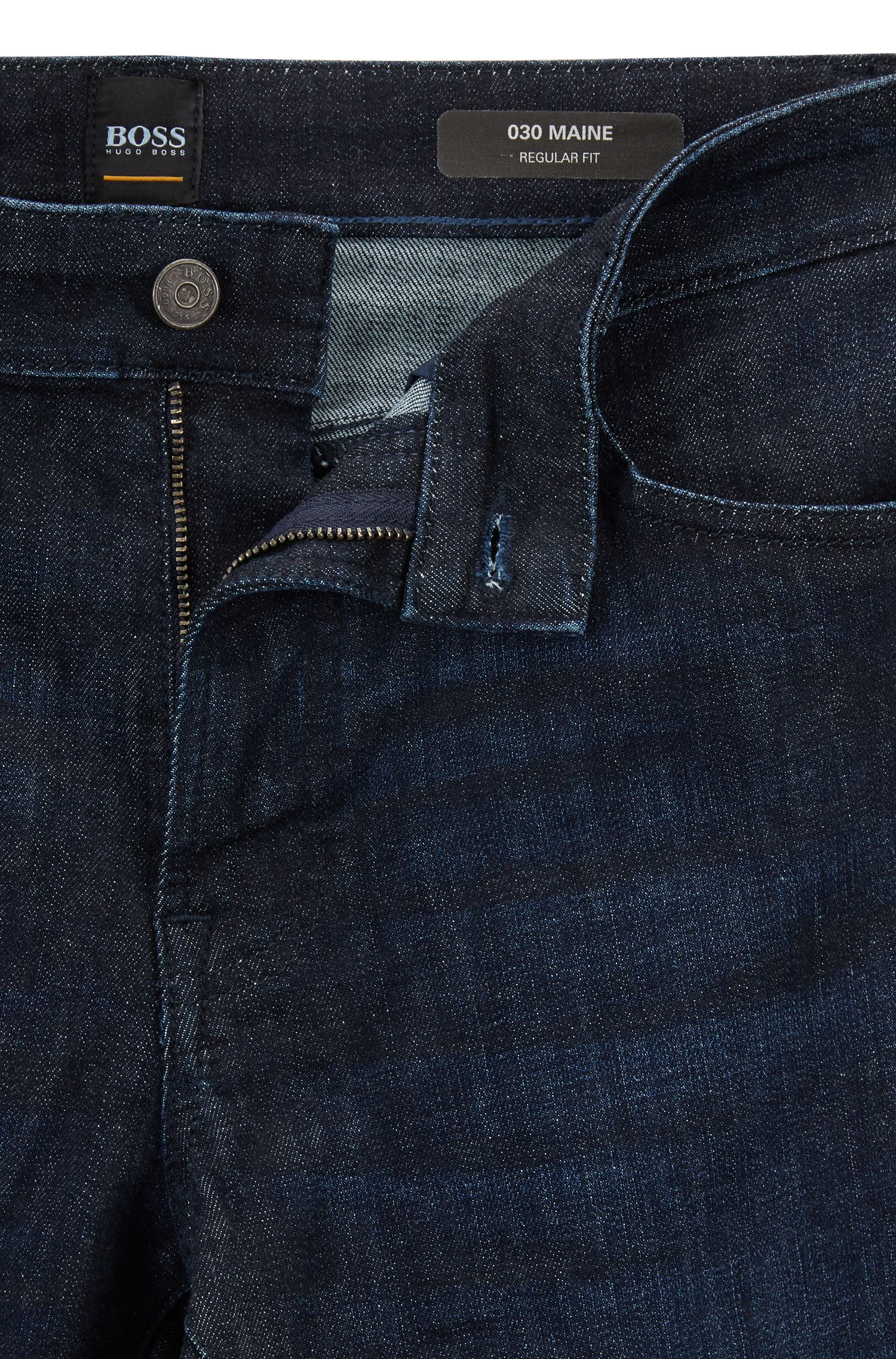 Jean Regular Fit en denim selvedge stretch, Bleu foncé