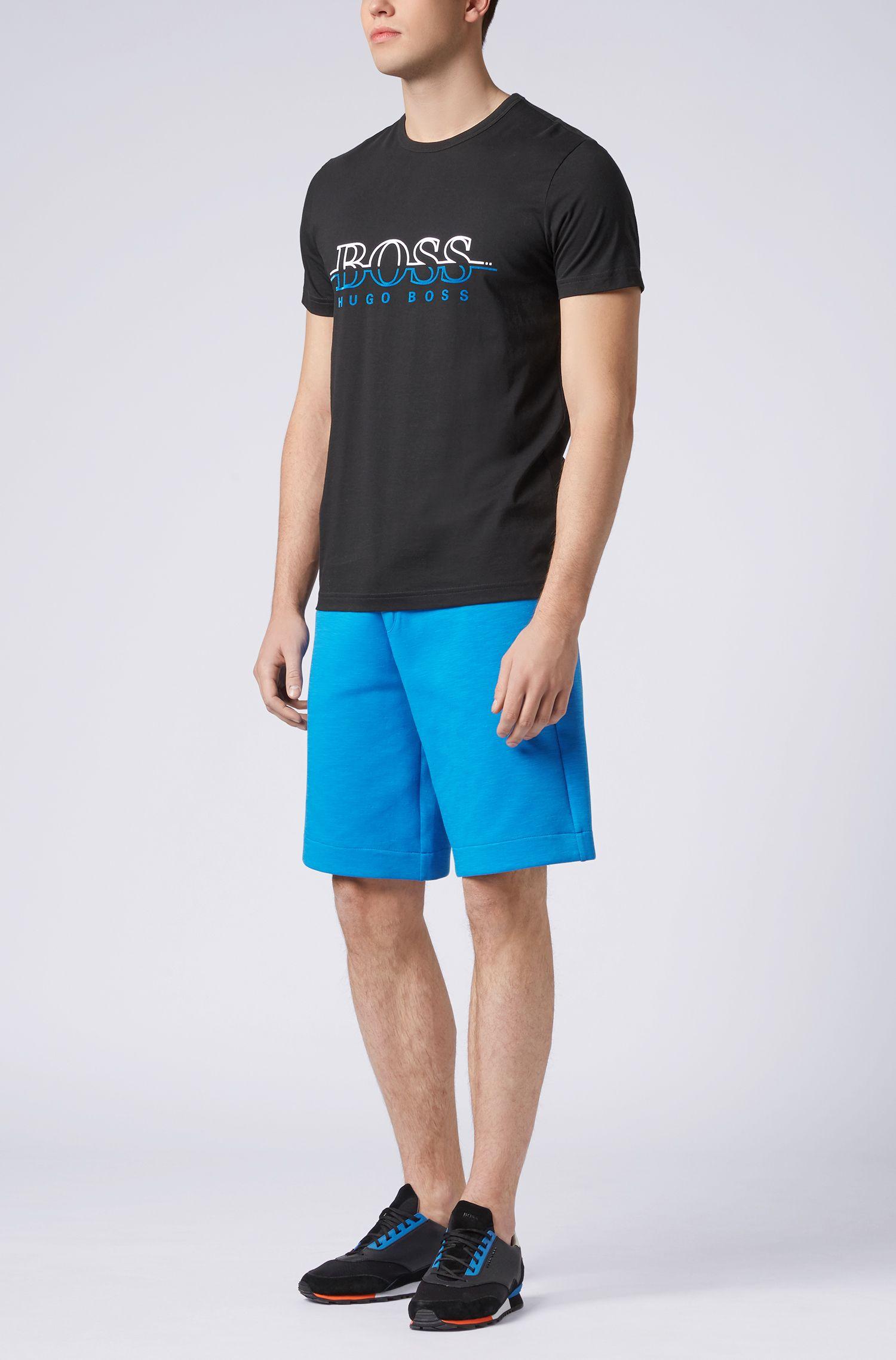 T-Shirt aus Single Jersey mit Rundhalsausschnitt und Flockdruck-Logo, Schwarz