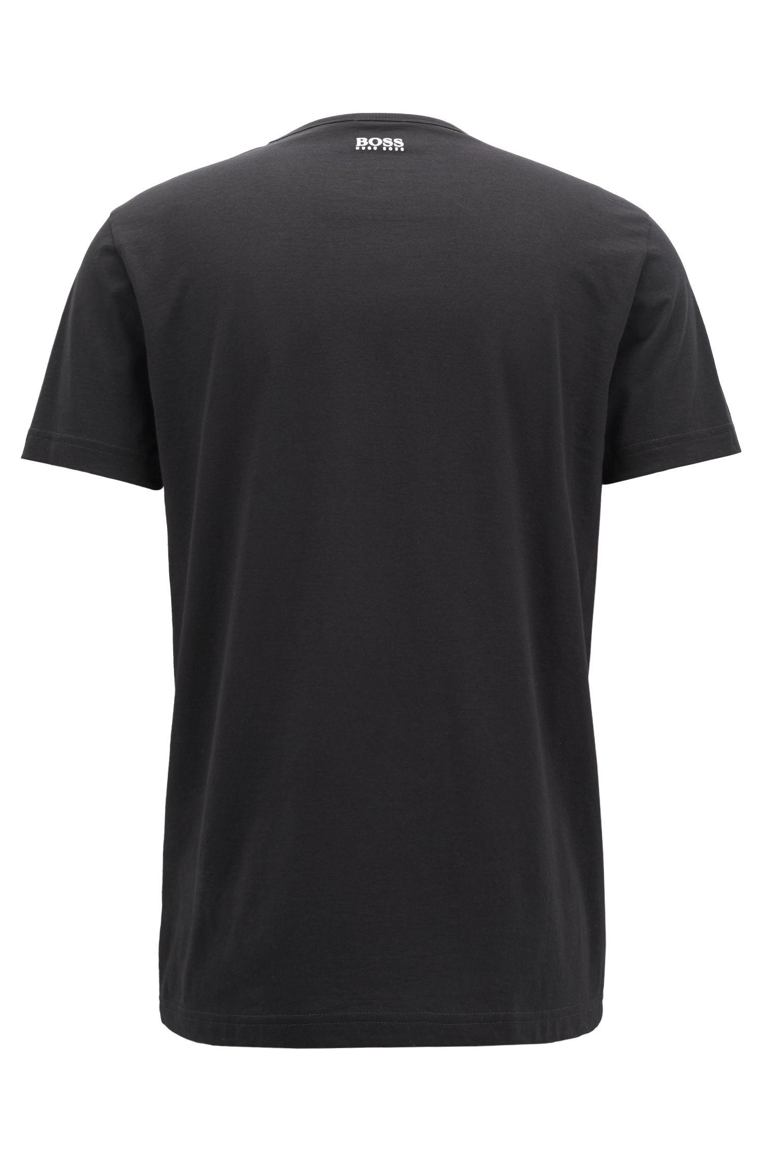 T-shirt a girocollo in cotone con stampa flock del logo, Nero