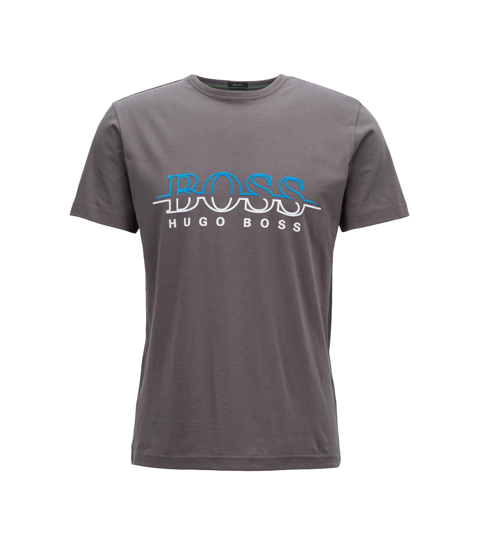 Camiseta de cuello redondo en algodón con logo estampado flocado, Gris marengo
