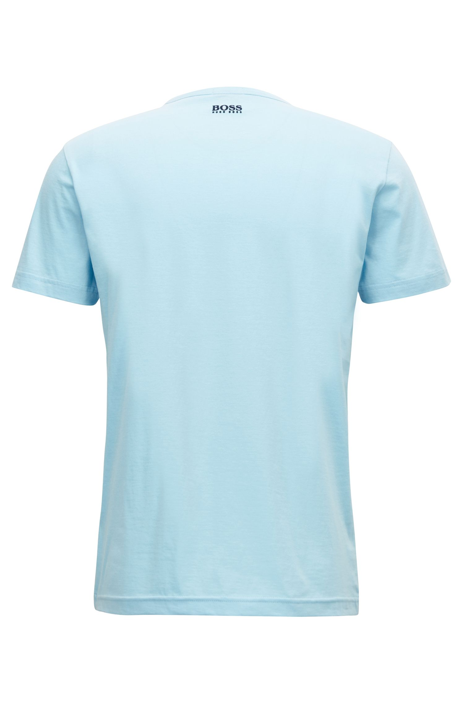 Crew-neck T-shirt in cotton with flock-print logo, Light Blue