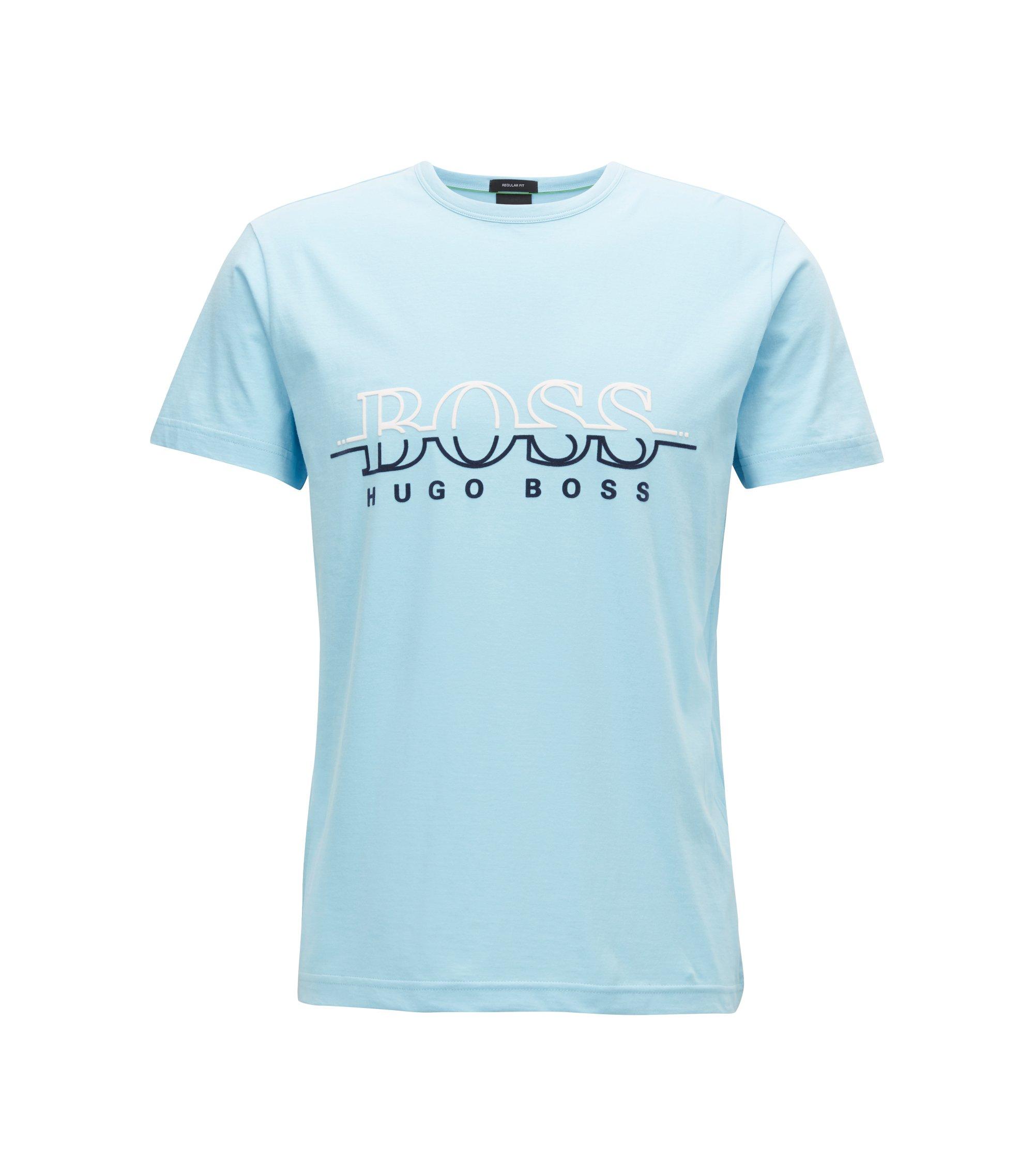 T-shirt met ronde hals van katoen met logo in flockprint, Lichtblauw