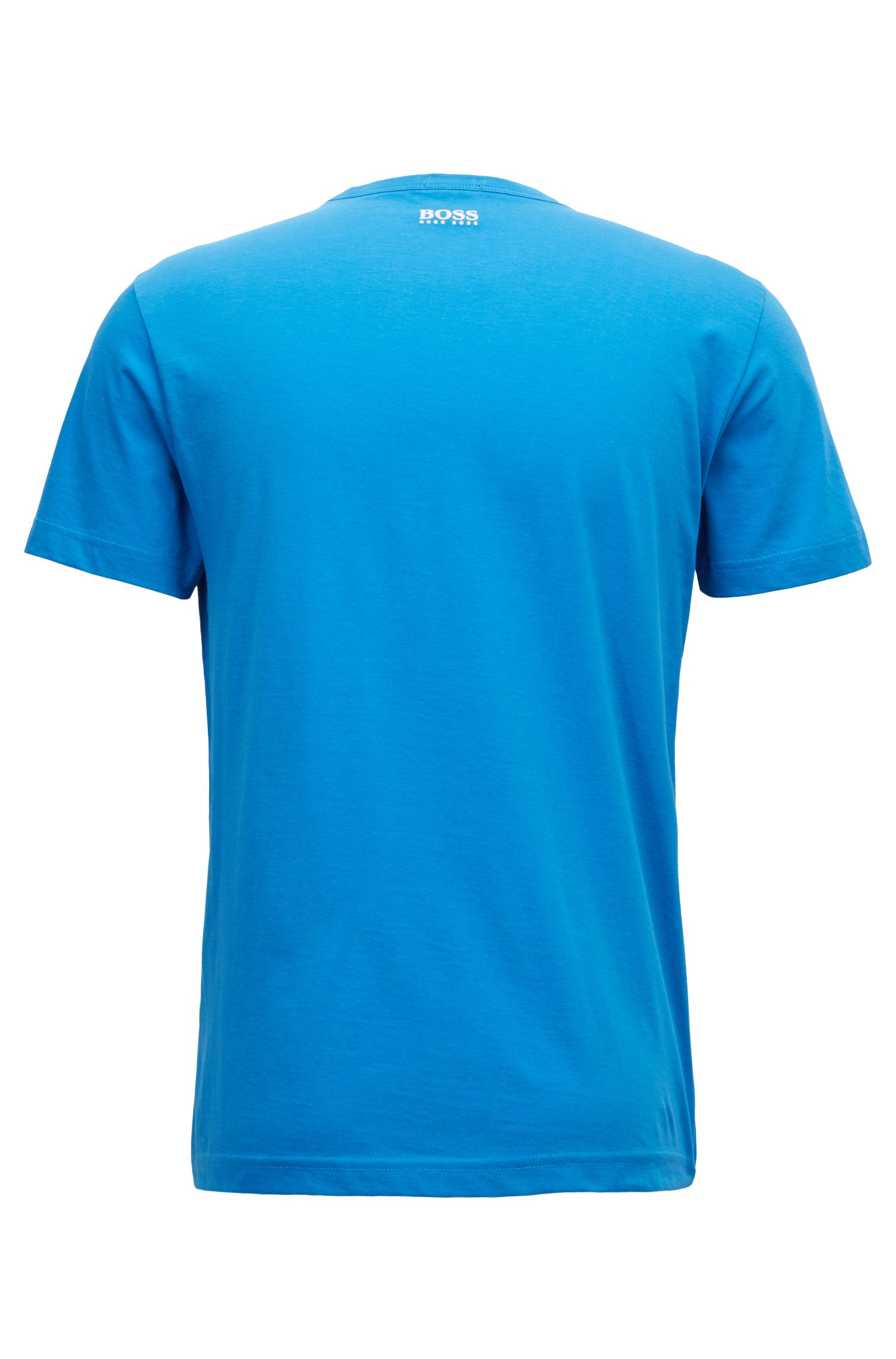 Crew-neck T-shirt in cotton with flock-print logo, Turquoise