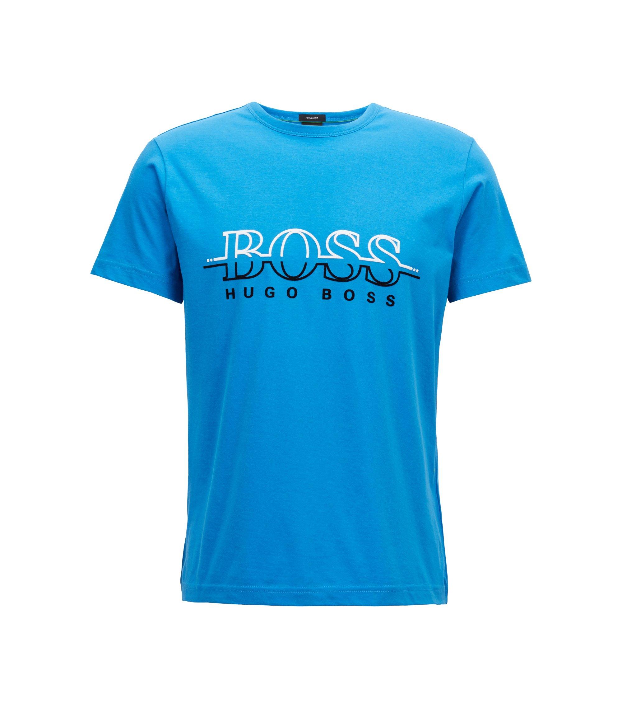 Camiseta de cuello redondo en algodón con logo estampado flocado, Turquesa