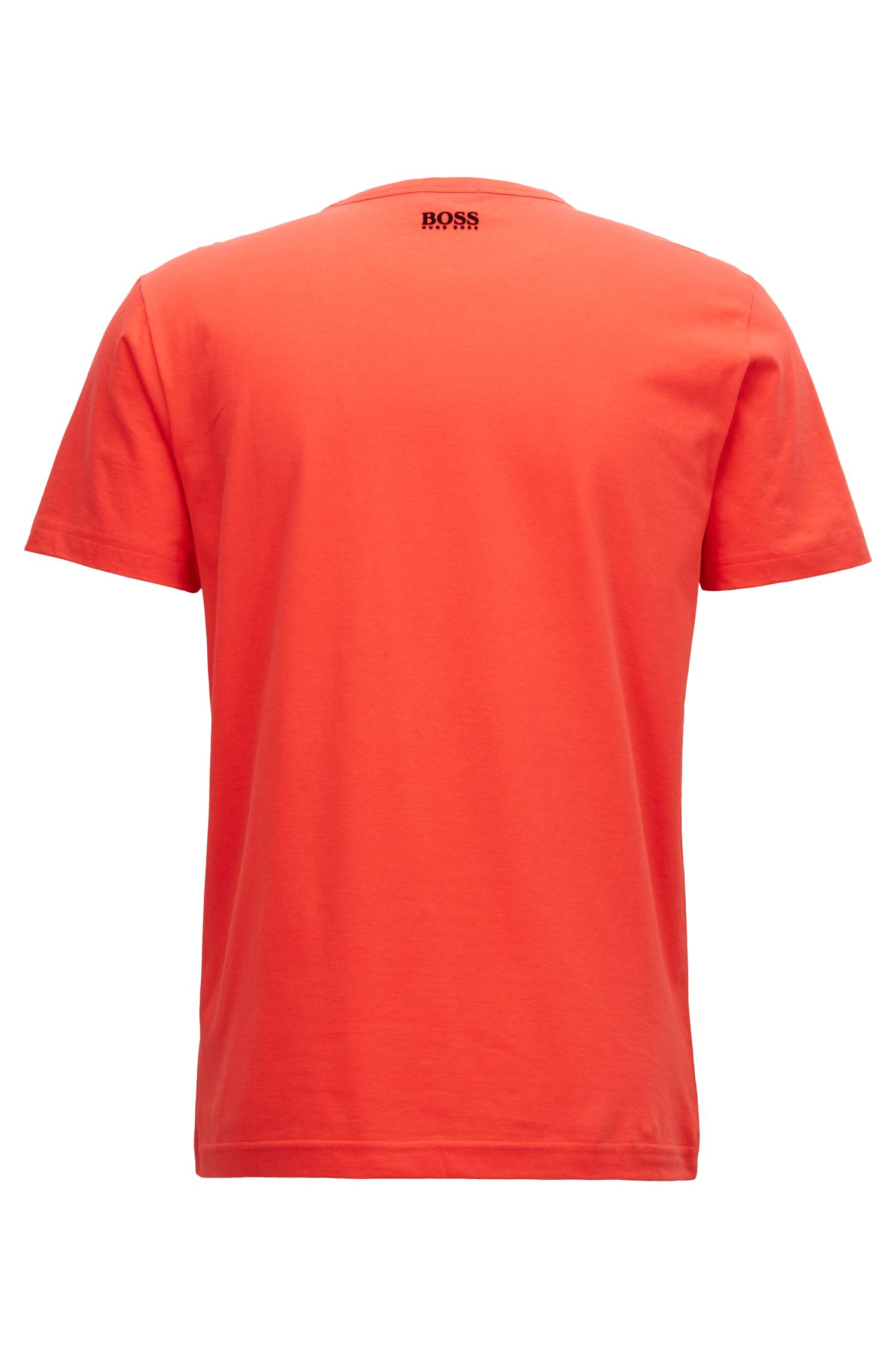 Crew-neck T-shirt in cotton with flock-print logo, Red