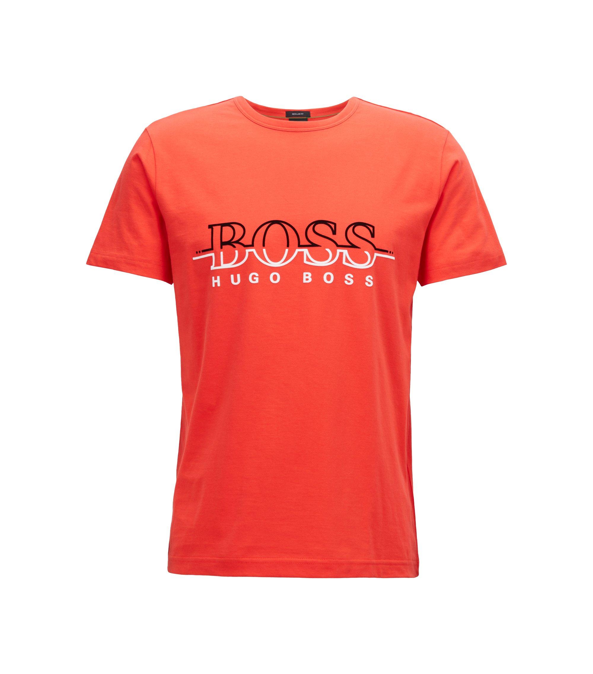 T-shirt a girocollo in cotone con stampa flock del logo, Rosso