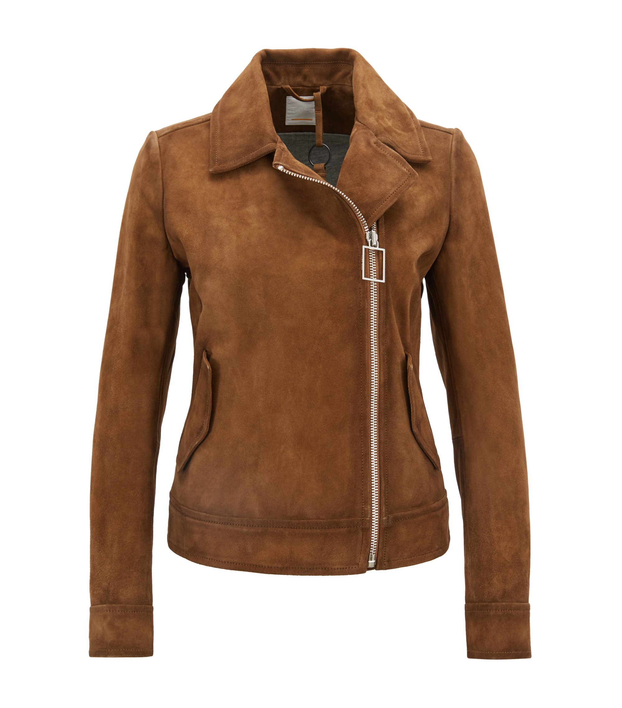 Regular-fit asymmetric biker jacket with suede outer, Brown