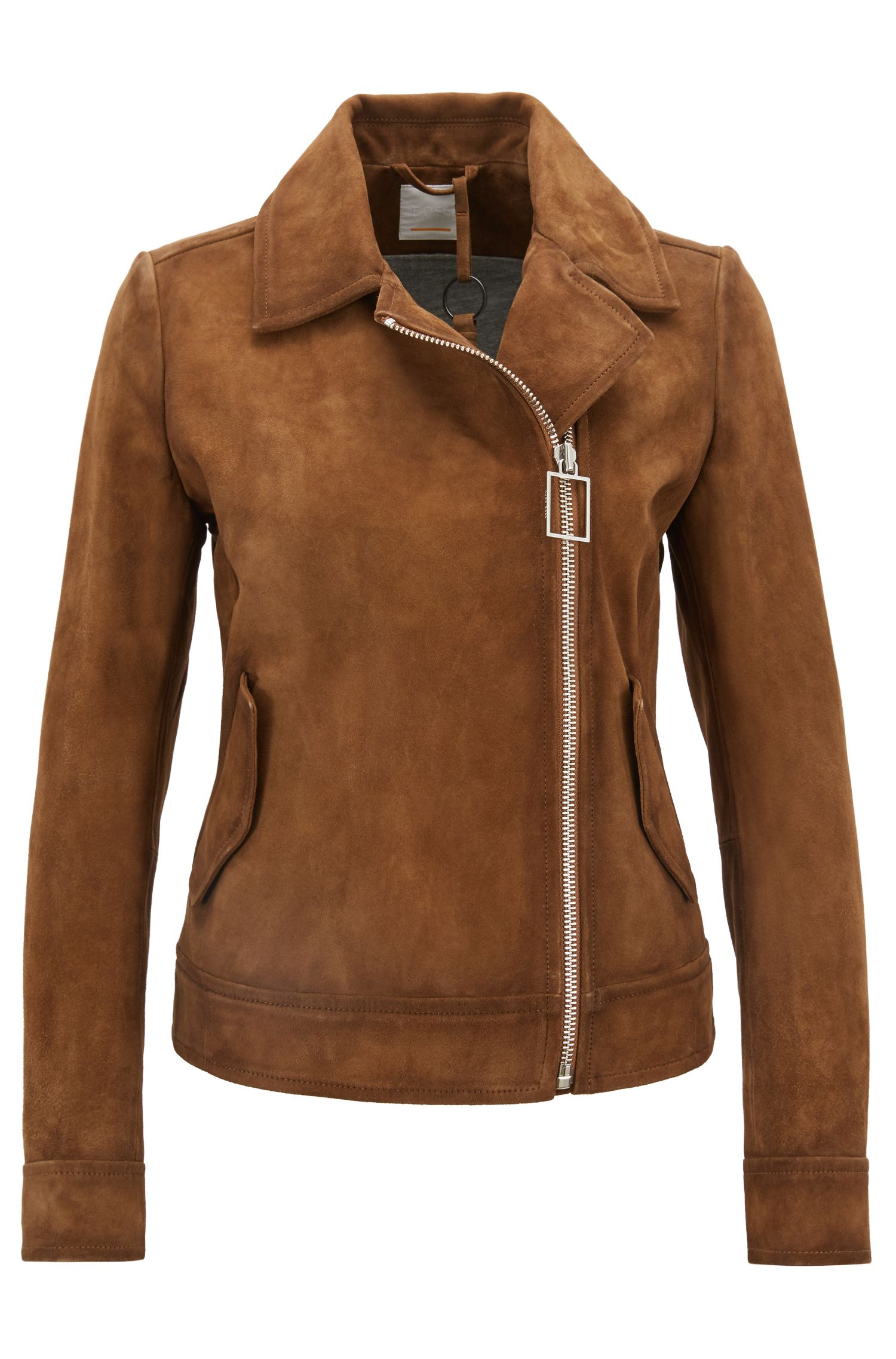 Blouson de motard Regular Fit asymétrique en daim, Marron