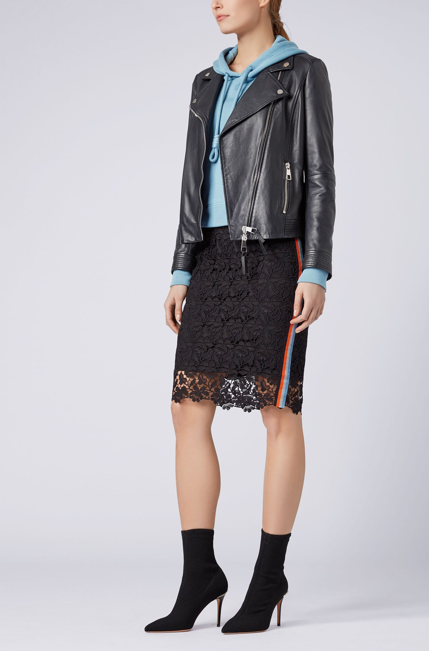 Regular-fit asymmetric biker jacket in nappa lambskin, Dark Blue