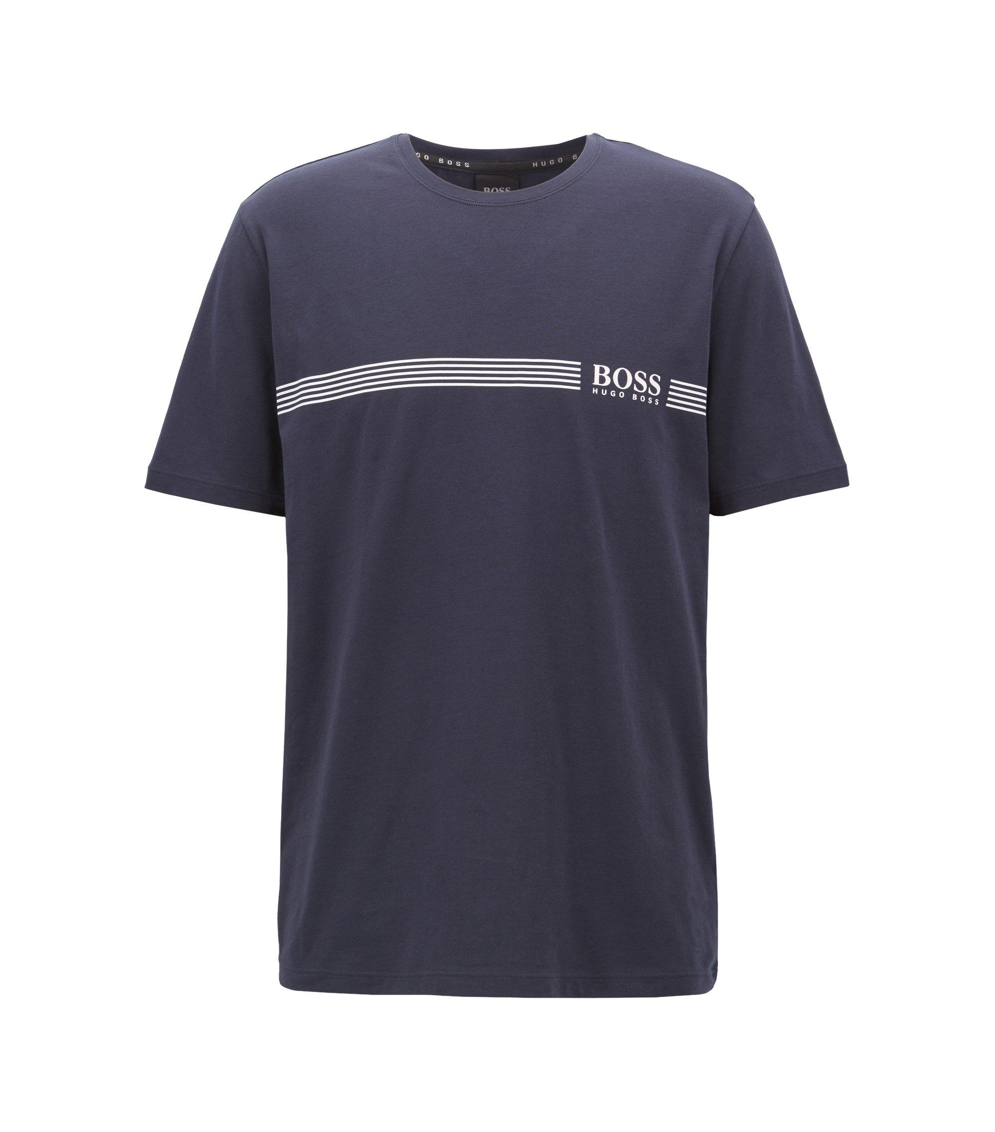 Pyjama T-shirt in stretch cotton with logo print, Dark Blue