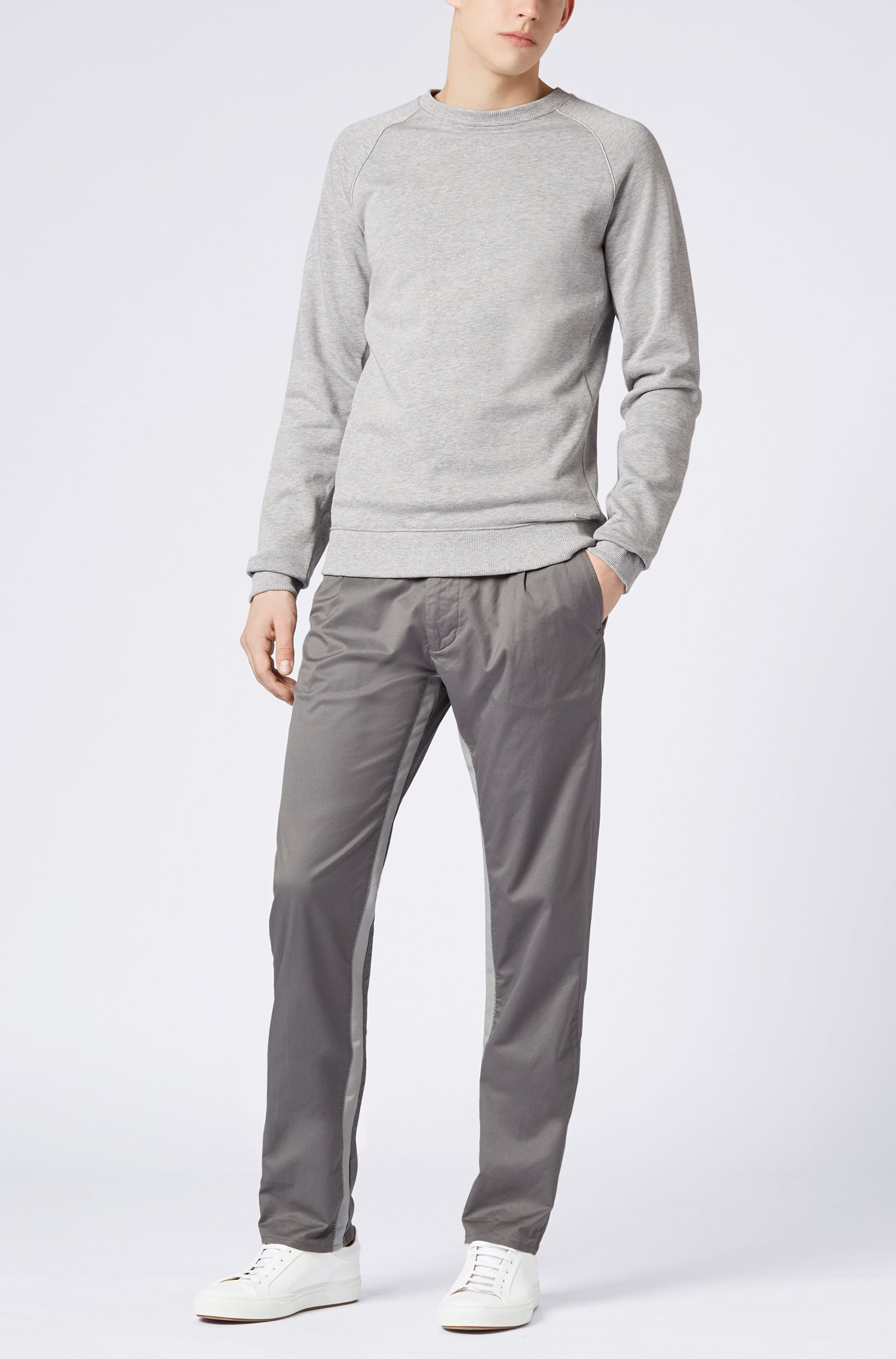 Relaxed-fit trousers in stretch cotton with riptape detailing BOSS