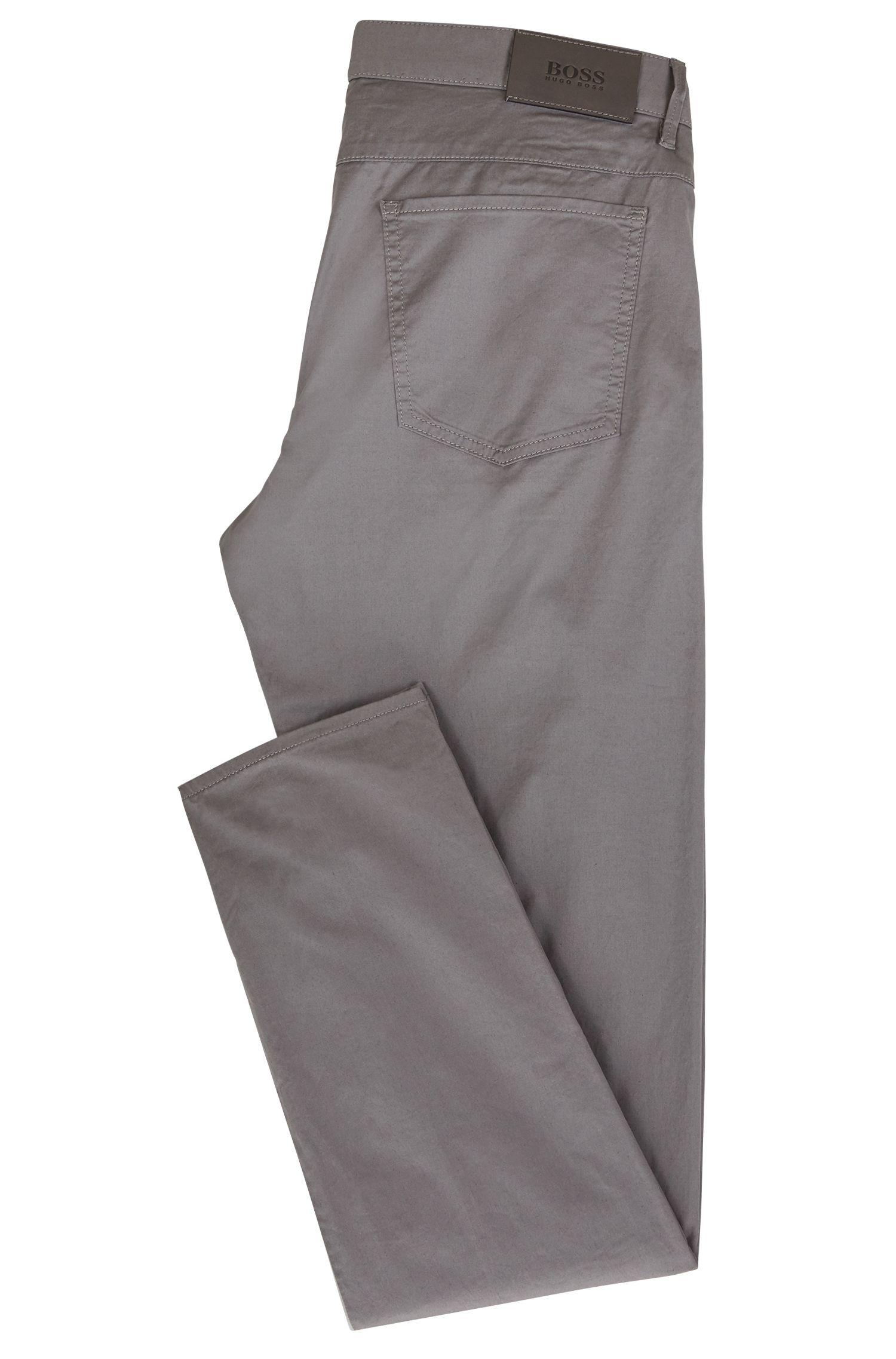 Relaxed-fit broek van stretchkatoen met ripsband, Lichtgrijs