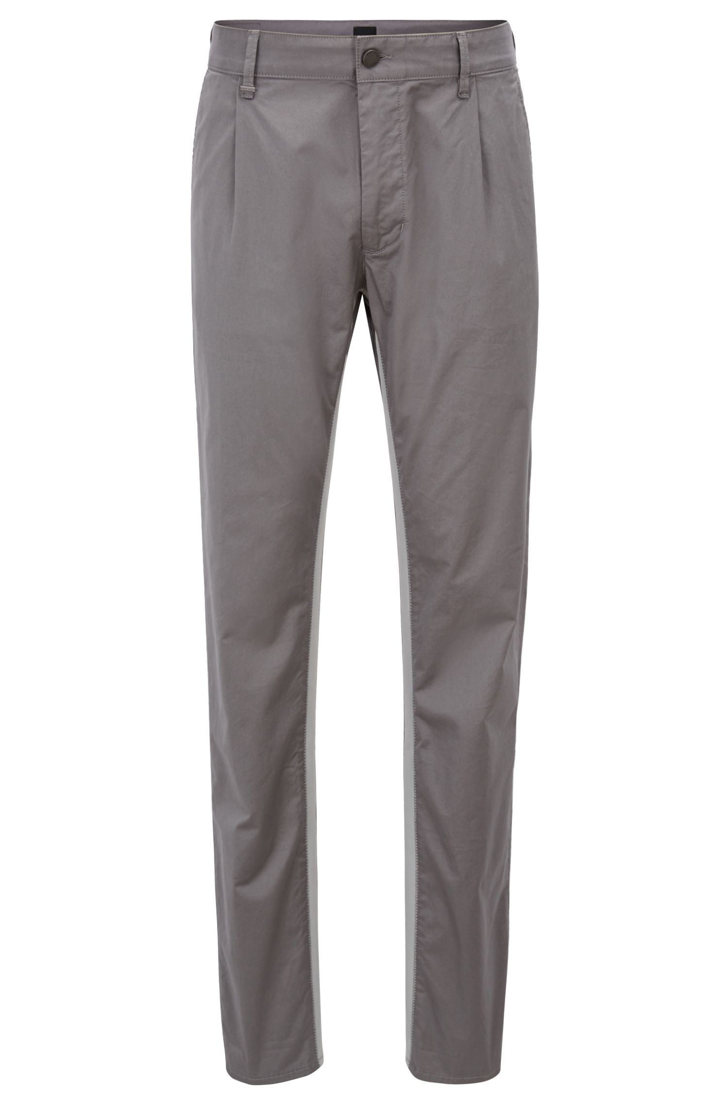 Pantalon Relaxed Fit en coton stretch avec bande ripstop, Gris chiné
