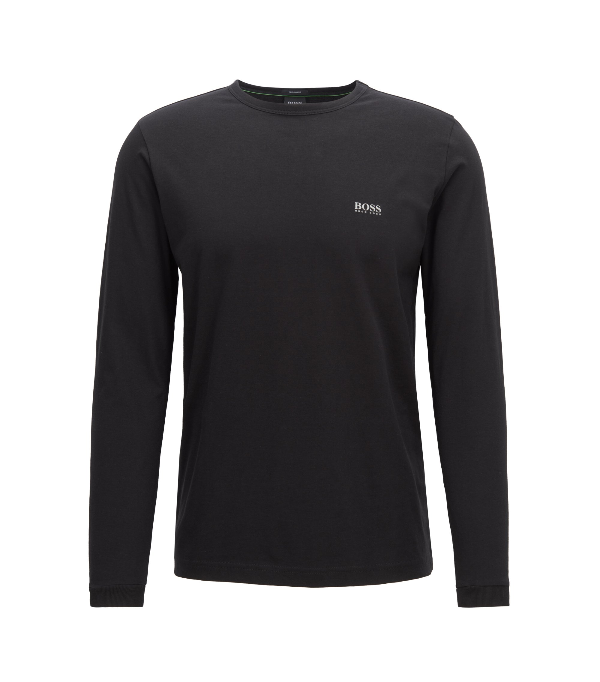Long-sleeved cotton T-shirt with shoulder logo, Black