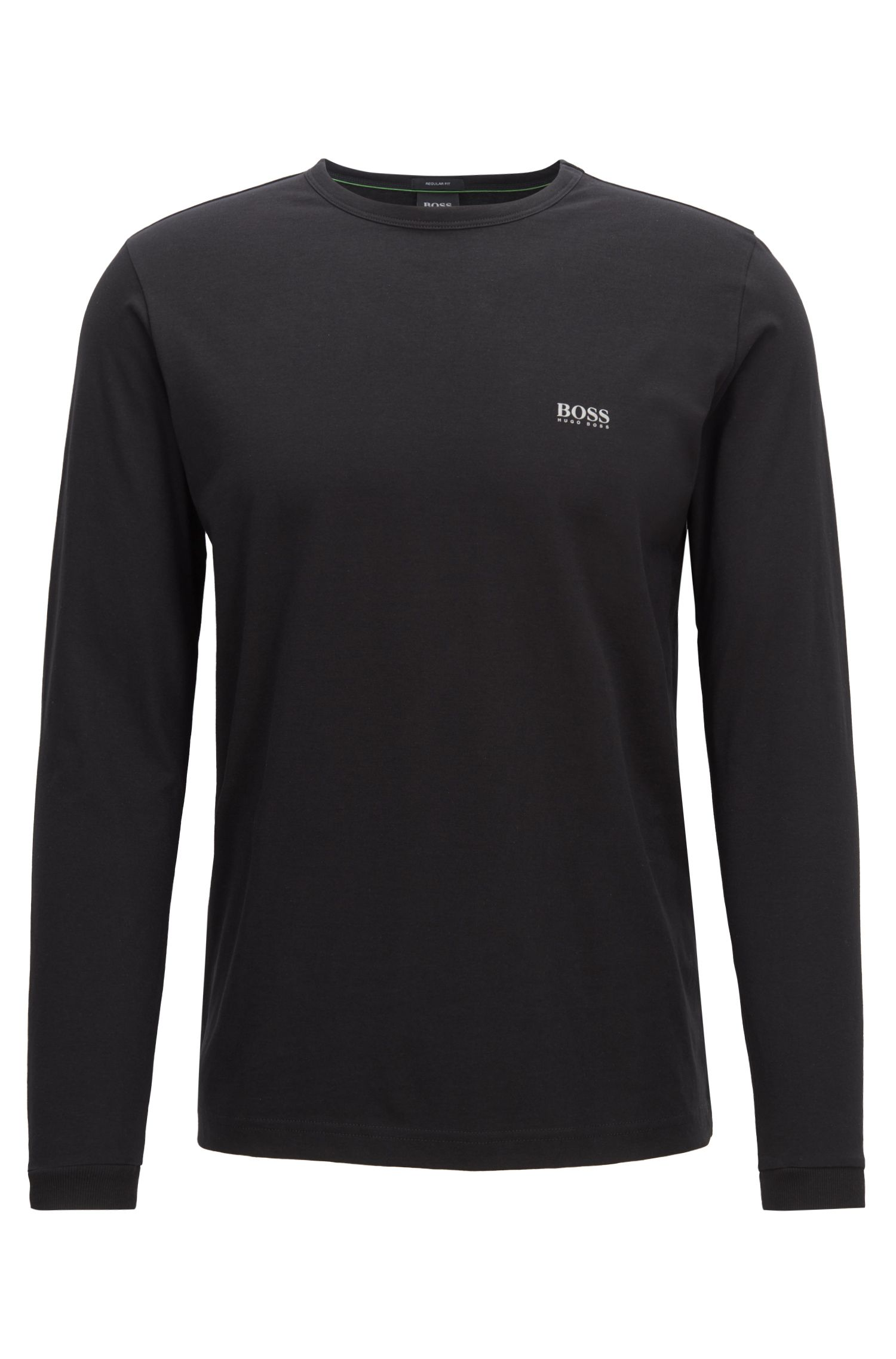 Long-sleeved cotton T-shirt with shoulder logo