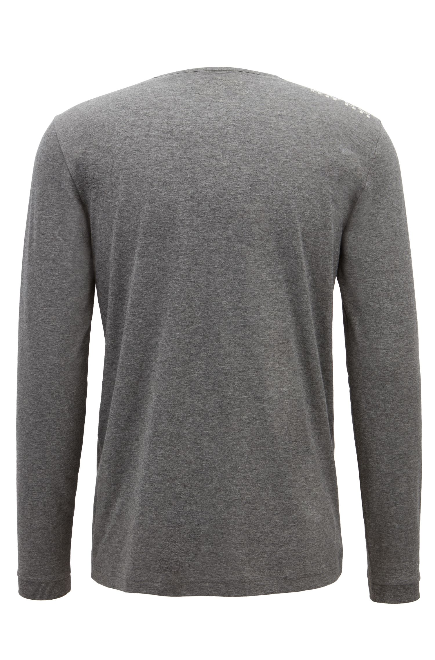 Long-sleeved cotton T-shirt with shoulder logo, Grey