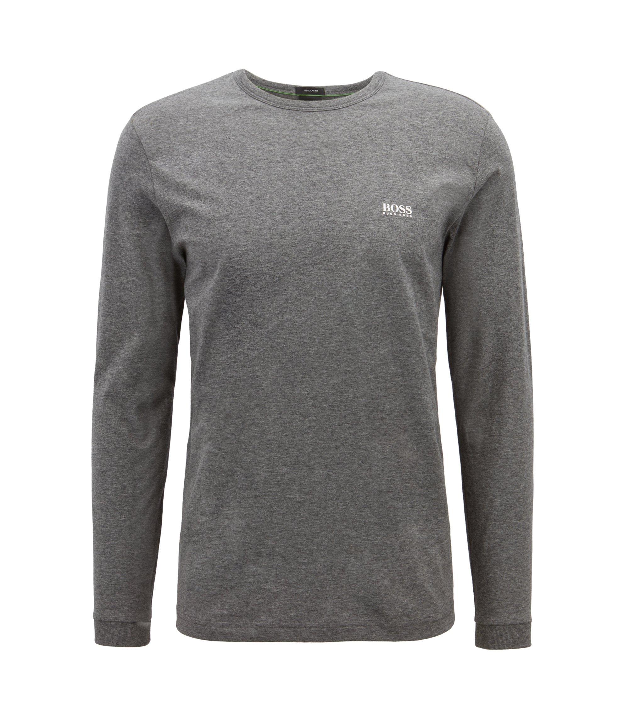 Katoenen T-shirt met lange mouwen en schouderlogo, Grijs
