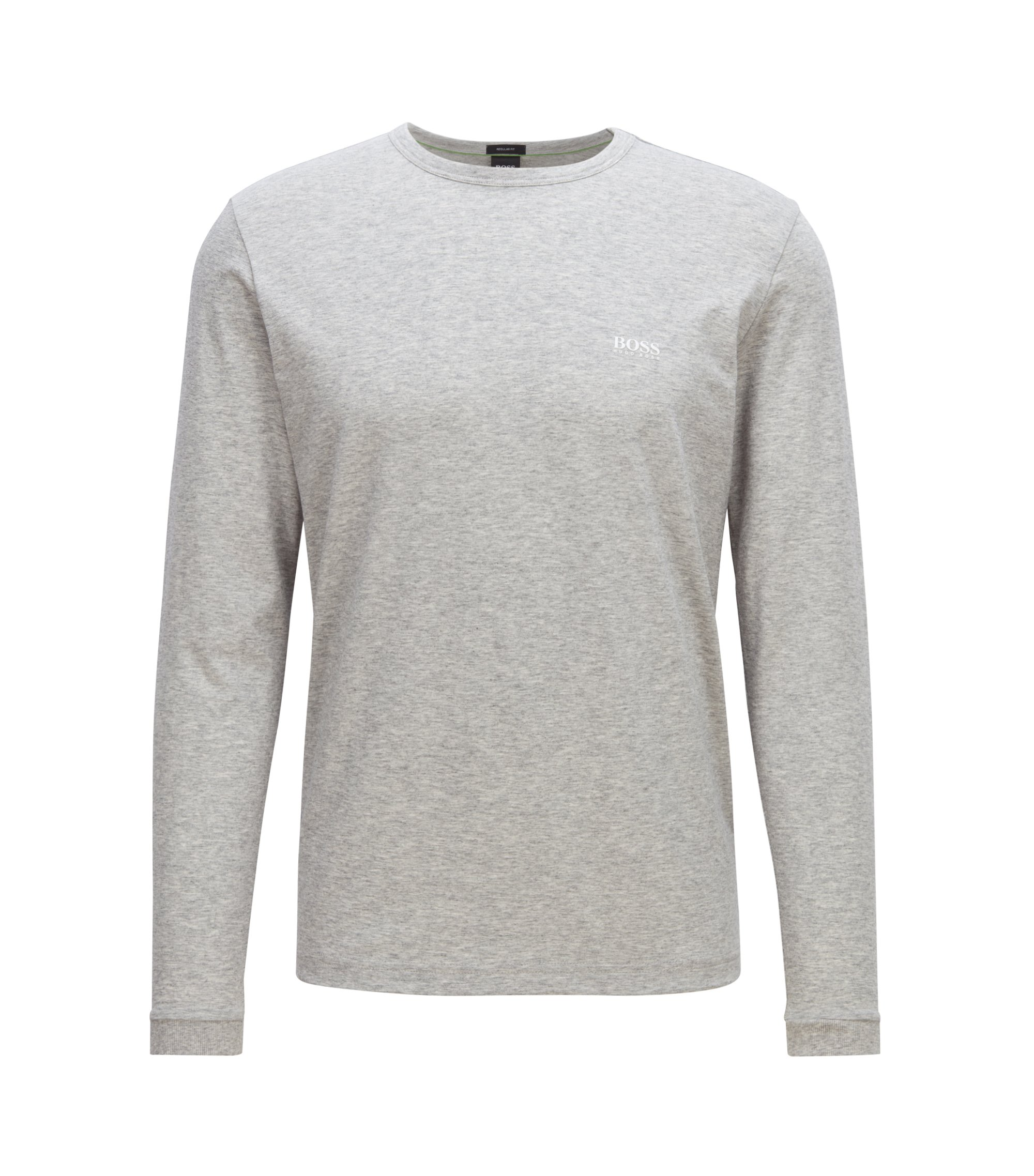 Long-sleeved cotton T-shirt with shoulder logo, Light Grey