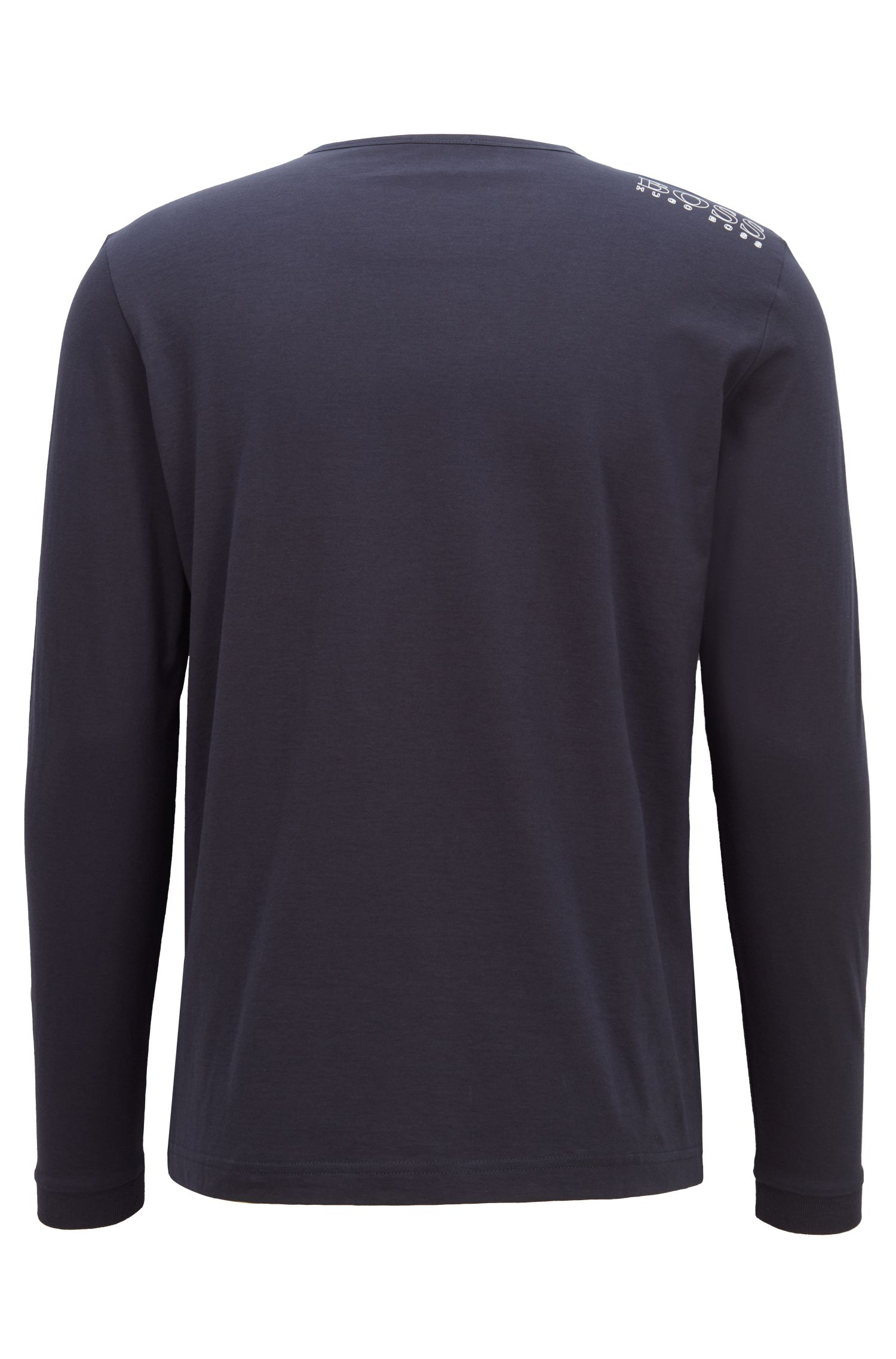 Long-sleeved cotton T-shirt with shoulder logo, Dark Blue