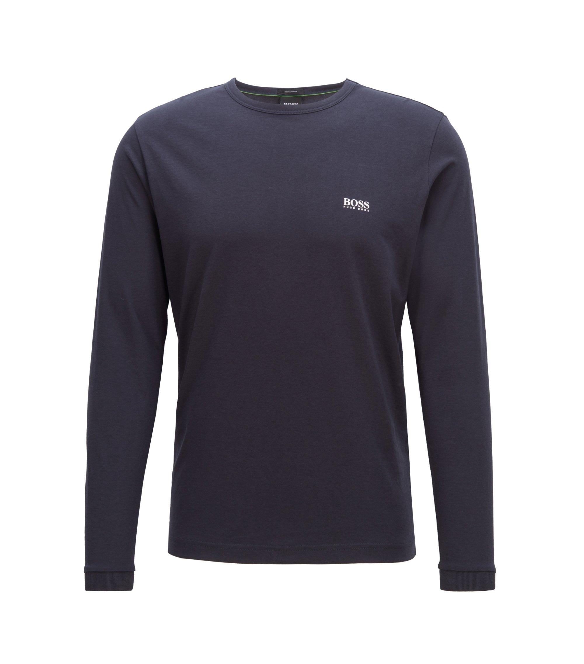 Katoenen T-shirt met lange mouwen en schouderlogo, Donkerblauw