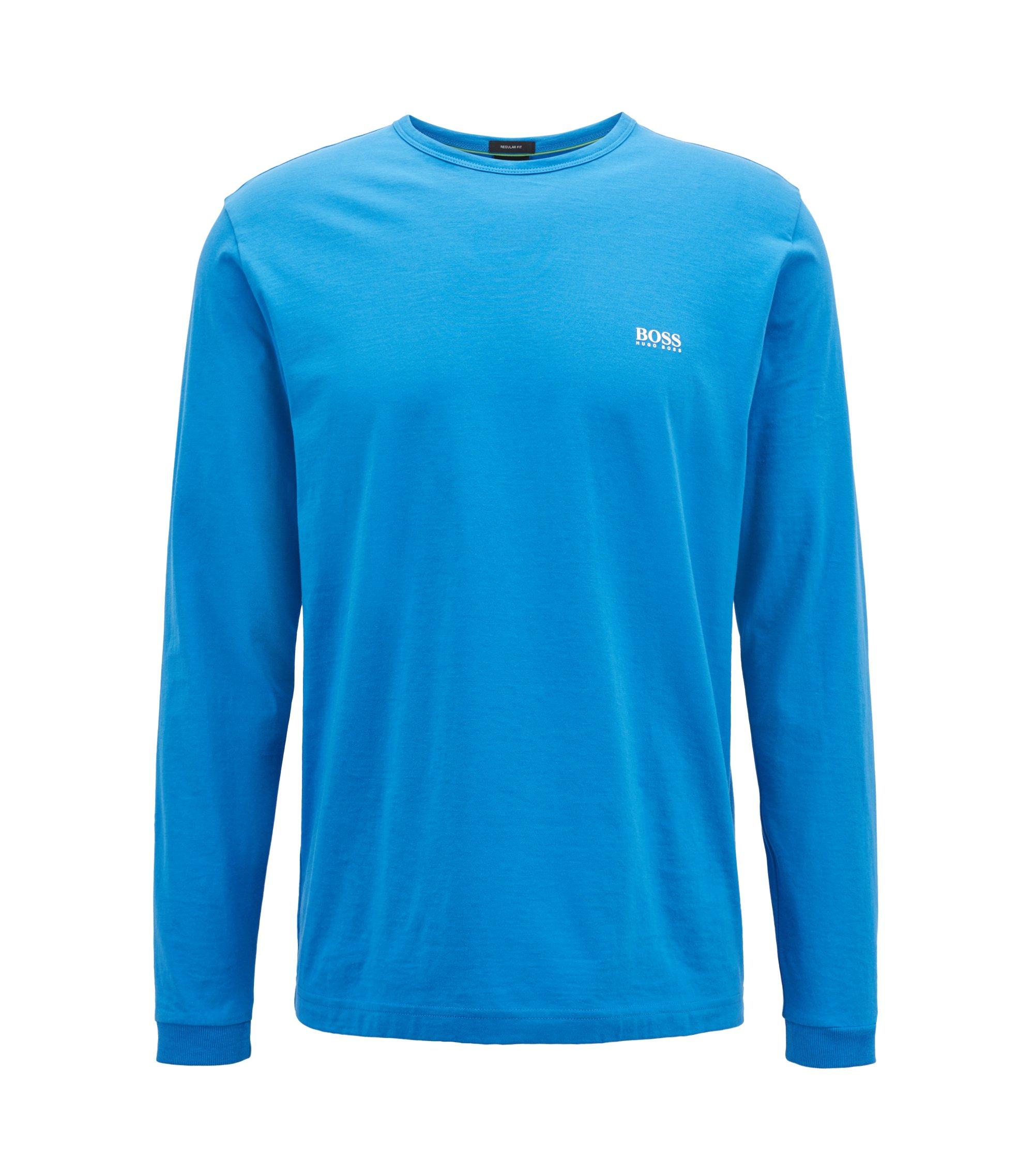 Longsleeve aus Baumwolle mit Logo-Dessin an der Schulter, Blau