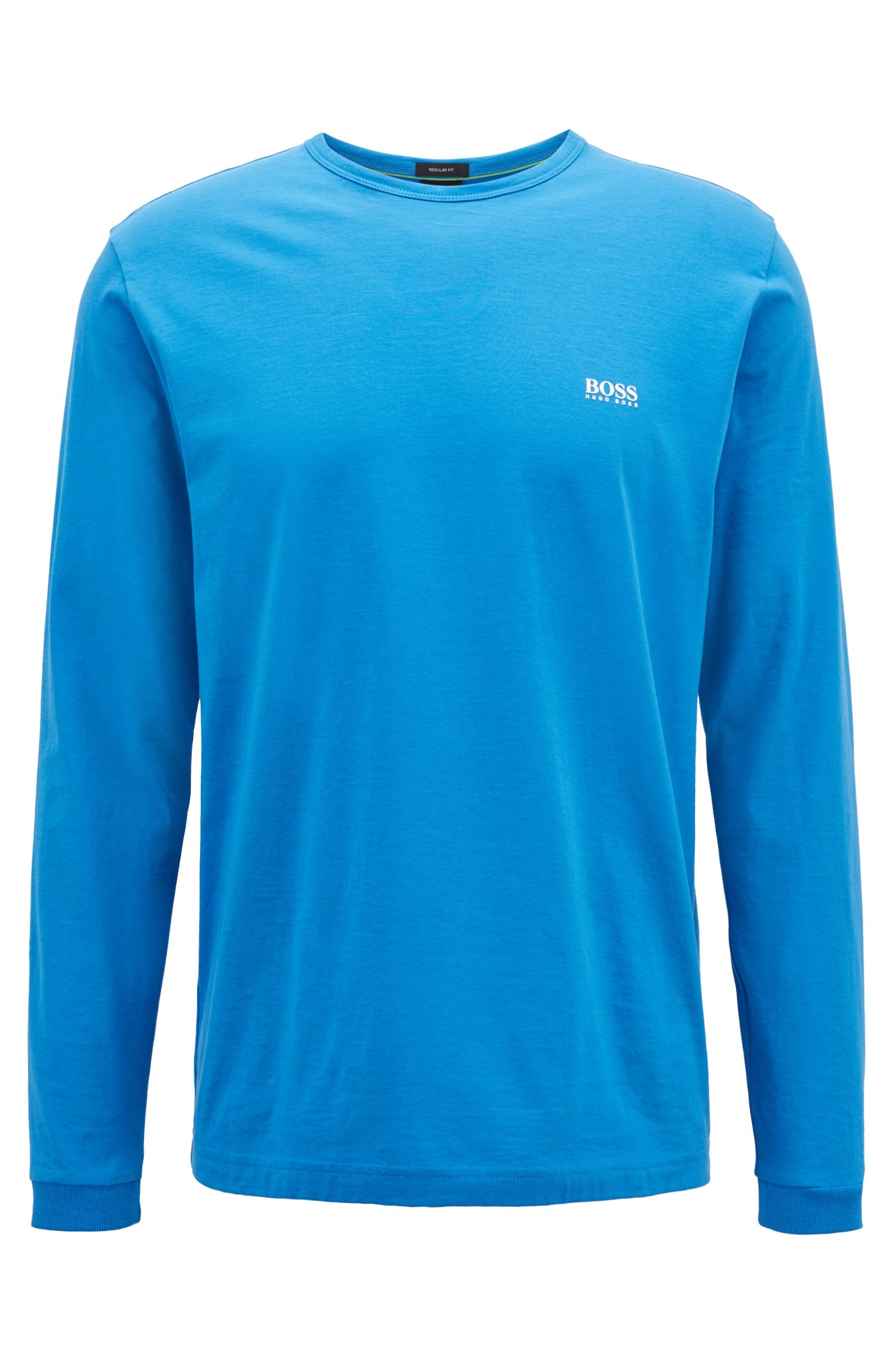 Long-sleeved cotton T-shirt with shoulder logo, Blue